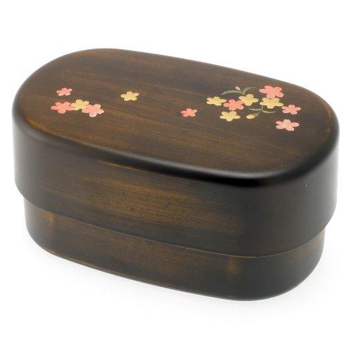 Kotobuki 2-Tiered Bento Box, Woodgrain/Cherry (Sakura) Blossom ()