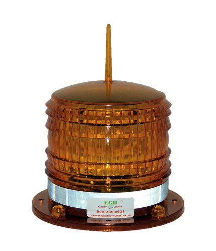 S8LF AMBER FLASHING 2NM IP67 SOLAR LED with a BIRD SPIKE Marine Dock Barge Safety Beacon Light 360 Degree Amber Spike