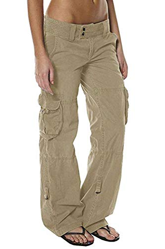 Capri Pants Cargo (HSRKB Womens Casual Cargo Pants Military Pants Jogger Low Waisted Trousers with Multi-Pockets Khaki)