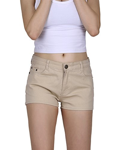 HDE Women's Solid Color Ultra Stretch Fitted Low Rise Moleton Denim Booty Shorts (Khaki, Medium)]()