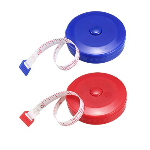 uxcell Cloth Tape Measure for Body 59 Inch Retractable Measuring Tape Soft Dual Sided for Tailor Sewing 1.5 Meter 2pcs Color Random