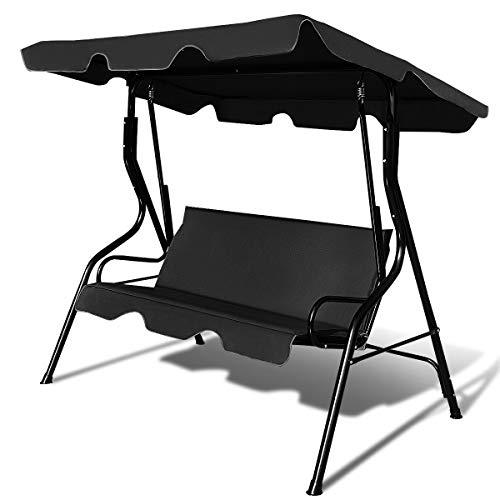 Tangkula 3 Seater Canopy Swing Glider Hammock Garden Backyard Porch Cushioned Steel Frame Swing (Black)