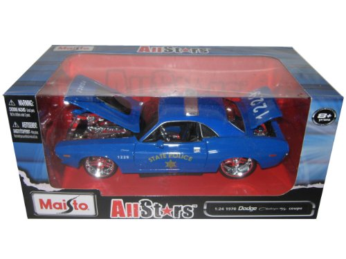 """1970 Dodge Challenger R/T Coupe Police Blue """"All Stars"""" 1/24 by Maisto 31129"""