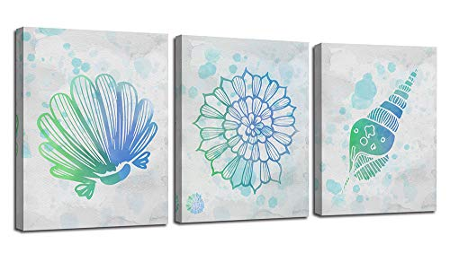 Ardemy Canvas Wall Art Abstract Watercolor Seashell Blue Beach Painting 3 Panels Modern Simplicity Pictures Stretched and Framed for Bedroom Bathroom Nursery Room Decorations, 12