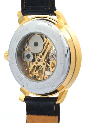 WINNER-Mens-Male-Boys-Hand-Wind-Mechanical-Yellow-Gold-Dial-Black-Leather-Band-Skeleton-Watches