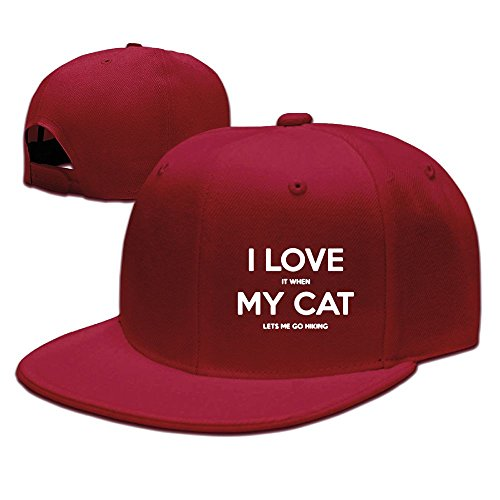 XianC I Love It When My Cat Lets Me Go Hiking Flat Bill Snapback Adjustable Cross-country Hats Red
