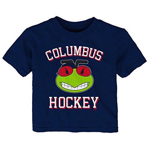 Outerstuff NHL Columbus Blue Jackets Children Unisex Hello Mascot Short Sleeve Tee, 24 Months, Navy