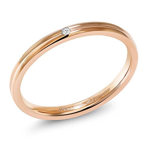 Gem Stone King Rose Gold Color Stainless Steel 2MM Wedding Band Ring with White Diamond ()