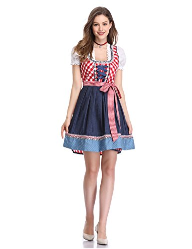 GloryStar KoJooin Women's German Dirndl Dress 3 Pieces Oktoberfest Costumes (L, Red Plaid) by GloryStar