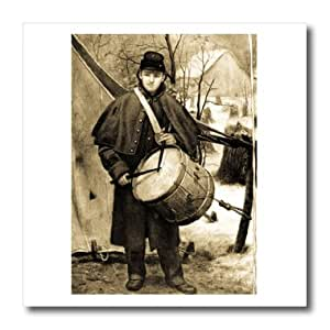 ht_6747_2 Scenes from the Past Antique Images - Civil War Drummer Boy Sepia tone - Iron on Heat Transfers - 6x6 Iron on Heat Transfer for White Material