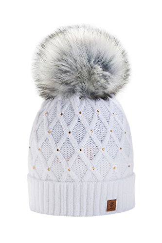 b2f2f0eefbe Women Girls Winter Beanie Hat Wool Knitted CRYSTAL with Large Pom Pom Cap  SKI Snowboard Hats MFAZ Morefaz Ltd