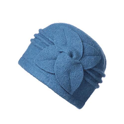 Dantiya Women's 100% Wool Flower Warm Cloche Bucket Hat Slouch Wrinkled Beanie Cap Crushable (Sky Blue)