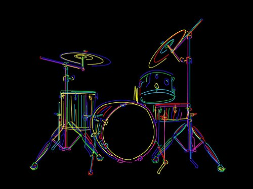 Multcoloured Drum Set Drums Drawing Sticks Photo Art Poster Print ()
