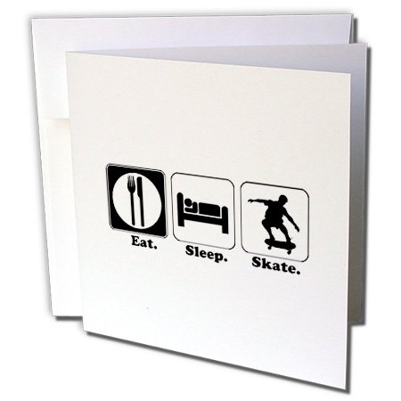 3dRose Funny Hobby Lifestyle Design Eat Sleep Skateboard - Greeting Cards, 6 x 6 inches, set of 12 (gc_116986_2)