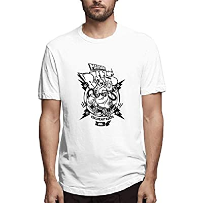 NINGFEI Men's Madside Beats Short Sleeve T Shirts White