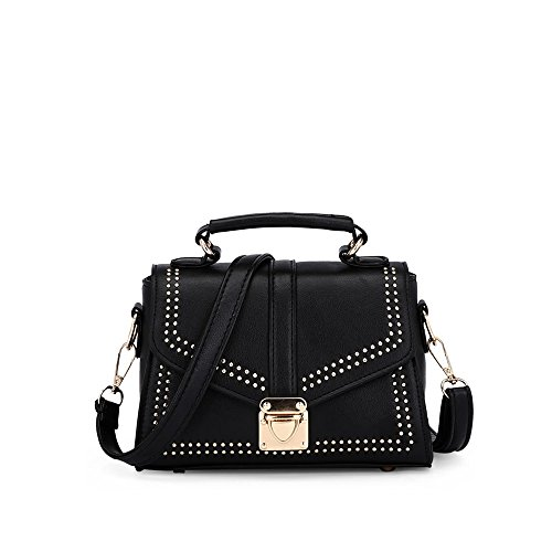 GWQGZ Nueva Moda Single Shoulder Satchel Fashion Remaches Bolso De Señora. Violeta Black