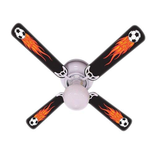 Ceiling Fan Designers Ceiling Fan, Flaming Soccer Balls, (Designer Hugger Fan)