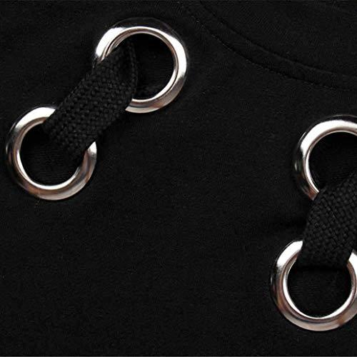 Élégant shirt Automne Mini Noir Jupe Adeshop De Robe Grande Couleur Sweat Pure Taille Sangle Manches Chic Femmes Croisée Courte À Rond Soirée Col Longues wqdIRdC6n
