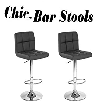chic modern adjustable synthetic leather swivel bar stools black set of 2