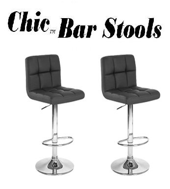 South Mission Chic Modern Adjustable Synthetic Leather Swivel Bar Stools - Black - Set of 2