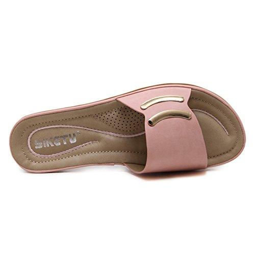 Scarpe 36 Spiaggia Pink Pantofole Toe Metallo Boemia Primo Fibbia K858 1 Scarpe KJJDE Sandali Clip Da QXXC Piatte In xPZAqfwUw
