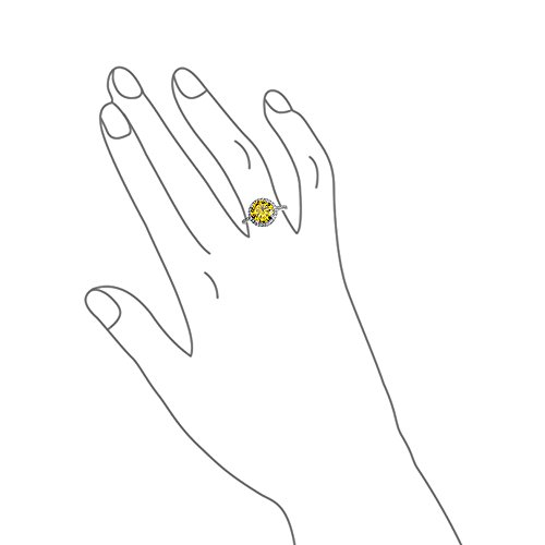 Sterling Silver Round Simulated Canary Yellow CZ Halo Engagement Ring by Bling Jewelry (Image #3)