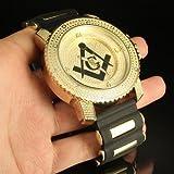 Bullet Band Design Masonic Print Golden Steel Back Watch Men Custom Swiss