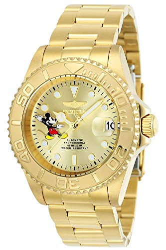 Invicta Men's Disney Limited Edition Automatic-self-Wind Watch with Stainless-Steel Strap, Gold, 20 (Model: 24756)
