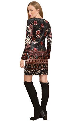 Vestido estampado estampado terciopelo para 101 negro mujer Idees de con de larga manga 6Iqr6f