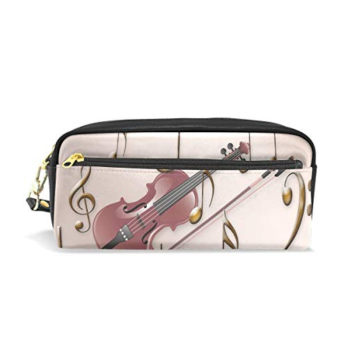 Pencil Case Stylish Print Music Violin Clef Sheet Music Stringed Instrument Art Pattern Large Capacity Pen Bag Makeup Pouch Durable Students Stationery Two Pockets with Double Zipper