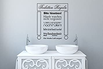 Wandtattoo Bilder® Wandtattoo Badezimmer Toiletten Regeln Nr 1 Wanddeko Bad  WC Wandsprüche Wanddekoration Größe