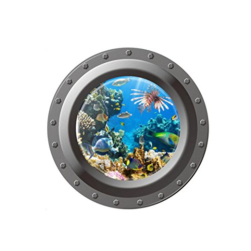 Hatop Submarine Portholes Wall Sticker Kids Coral Fish Boat Scuttles Decals Mural Art Nursery Home Decor (D)