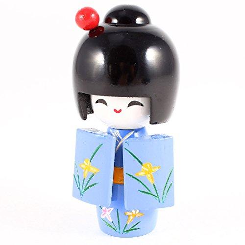 Blossom Decor Japanese Kimono Model Kokeshi Doll Green Navy Blue
