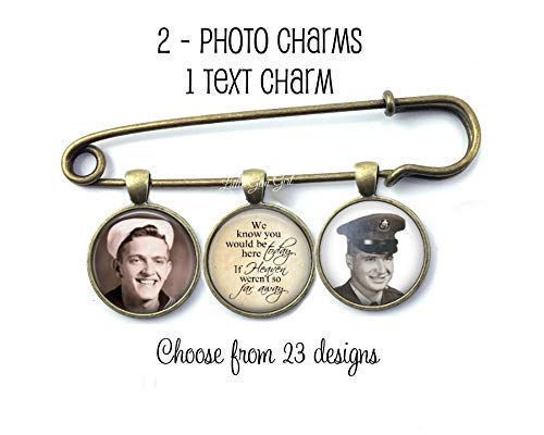 2 Photo, 1 Text Charm Custom Wedding Bouquet Lapel Pin - Personalized Picture In Memory Groom Boutonniere, Silver or Bronze ()