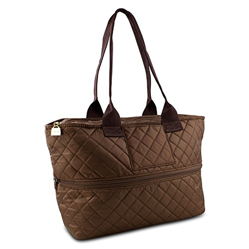Pursfection Expandable Tote Bag in Quilted Fabric – Dark Brown (Top Quilted Zipper Handbag)