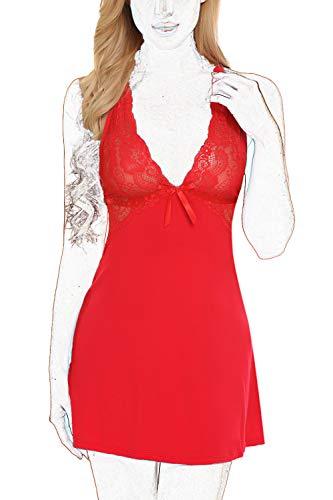 ADOME Women V Neck Chemise Sleepwear Soft Lingerie Modal Sleepwear Red
