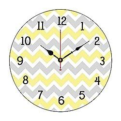 Moonluna Yellow Grey Gray Chevron Kitchen Nursery Nursery Wall Clock for Kids Wooden Wall Art Decoration Silent Non Ticking Christmas Clock Gifts 12 Inches