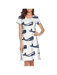 TEedhkf3 Girl's Nightgown Narwhal Crab Whale Octopus Sea Life Dri Fit Design Short Sleeve Pajamas