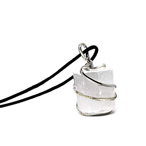 (Raw Selenite Crystal Pendant Necklace -for Personal Transformation, Clarity of Mind, Cleanse The Aura from Negativity, Releive Stress and Anxiety - Authentic Stone on Adjustable Length Necklace)