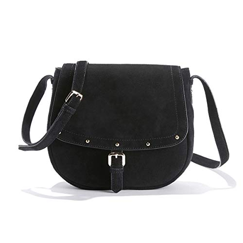 (La Redoute Collections Womens Suede Crossbody Saddle Bag With Studded Flap Black Size One Size)