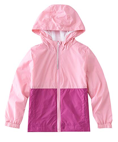 (M2C Girls Hooded Lightweight Windproof Jacket Water Resistant Windbreaker 4/5 Rose Pink)
