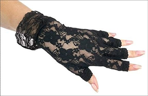Dressy Black Fingerless Lace Glove for Halloween; Parties; Dress Up; -