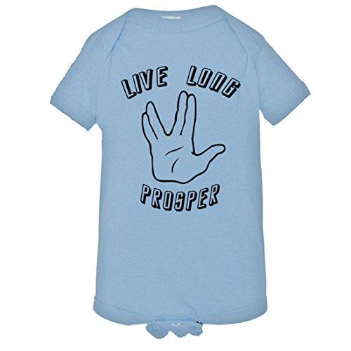 Star Trek Blue Jumpsuit - YOLO Trends Baby Live Long Prosper Spock StarTrek Nimoy HQ Jumpsuit-LtBlu-NB