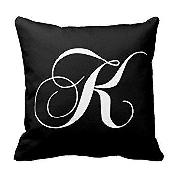 Black White Monogram K Designer Monogrammed Pillow Case