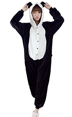 Ameyda Adult Women Men Flannel Onesies Pajamas Panda Cosplay Halloween (Cheap Adult Onesie)
