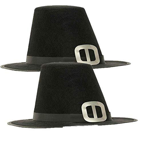 Men's Novelty Adult Pilgrim Man Hat, Black, One Size (2 Pack) Adult Pilgrim Man Hat