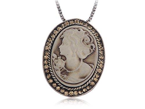 Alilang Antique Golden Tone Light Brown Rhinestones Vintage Cameo Woman Pendant Necklace