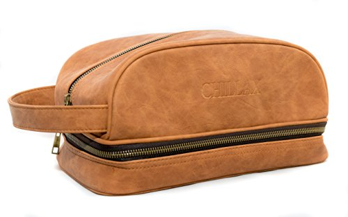 Leather Toiletry Bag Mens Designer Wash Dopp Kit by Chillax - Best Shaving Ditty Wet Pack for Traveling Toiletries and Body Hygiene Accessories - Vintage Brown