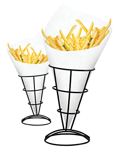 - 2-Piece French Fry Stand Cone Basket Holder for Fries Fish and Chips and Appetizers