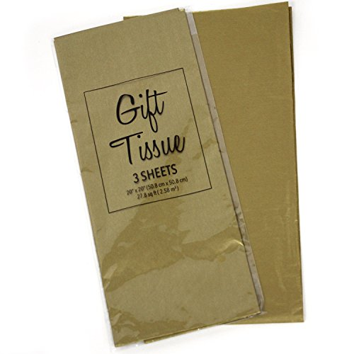 """Gift Wrap Tissue Paper 20"""" X 20"""", Premium Quality Tissue Paper, Solid Color - 60 Sheets (Metallic-Gold)"""